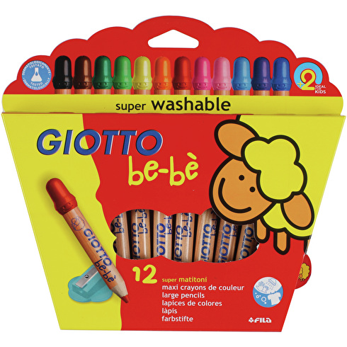 Giotto Bebe Super Large Coloured Pencils Box + Sharpener Set of 12